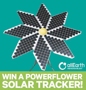 """Photo of a PowerFlower Solar Tracker with text """"Win a PowerFlower Solar Tracker!"""""""